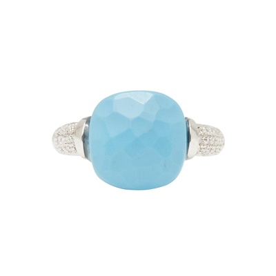 Lot 23-A turquoise and diamond set ring
