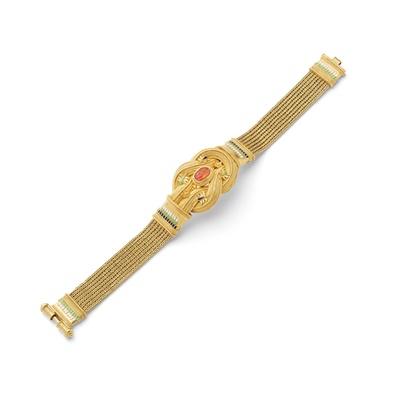Lot 96 - An Archaeological Revival carnelian and enamel bracelet, by Giacinto Melillo, circa 1880