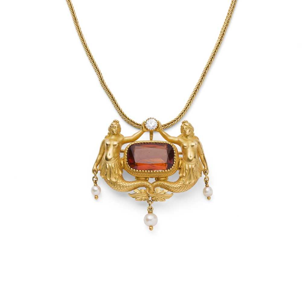 Lot 97 - An Italian late 19th century gem-set pendant/brooch and chain