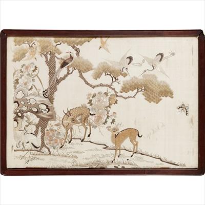 Lot 17-PAIR OF EMBROIDERED PANELS