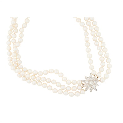 Lot 7-A pearl and diamond set necklace