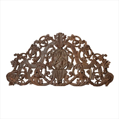 Lot 26-CHARLES II PARCEL-GILT AND SILVERED CARVED WALNUT DOORWAY PEDIMENT