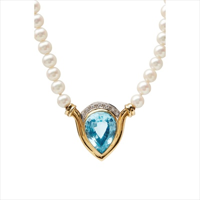 Lot 13-A pearl and topaz set necklace