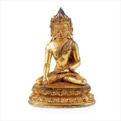 Lot 31-GILT-BRONZE FIGURE OF BUDDHA SHAKYAMUNI