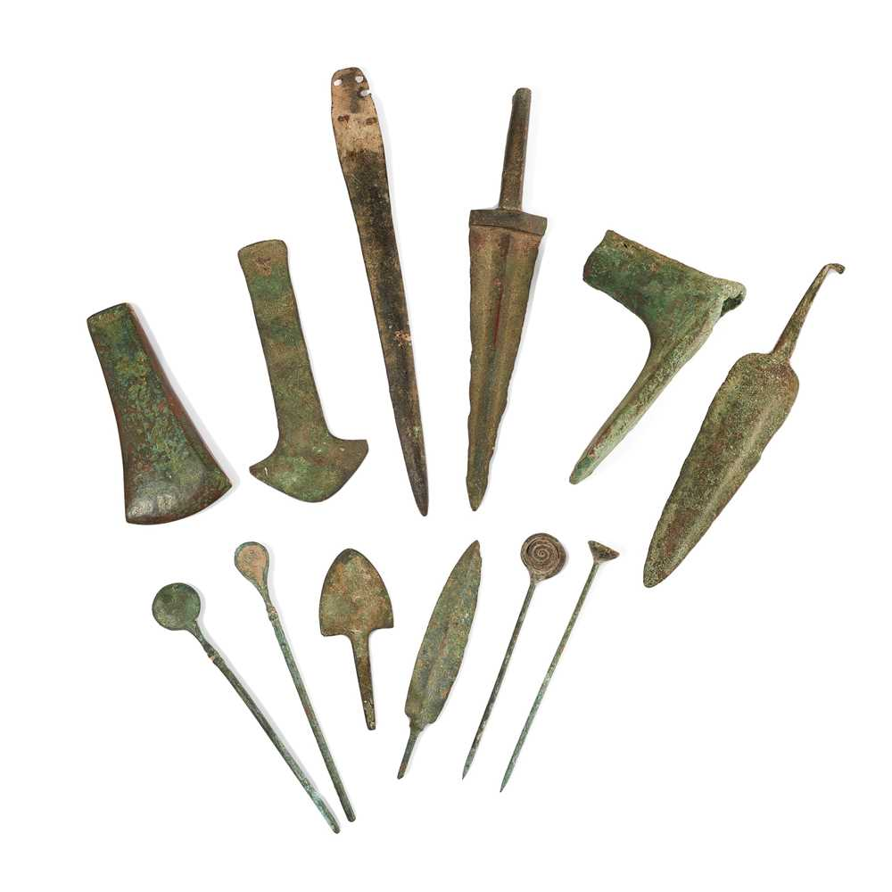 Lot 77 - COLLECTION OF BRONZE AGE AND LATER BLADES AND IMPLEMENTS