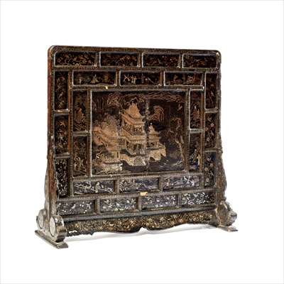 Lot 22-RARE MOTHER-OF-PEARL INLAID BLACK LACQUER 'PAVILION OF PRINCE TENG' SCREEN