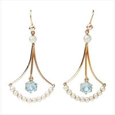Lot 11-A pair of Edwardian aquamarine and pearl set pendant earrings