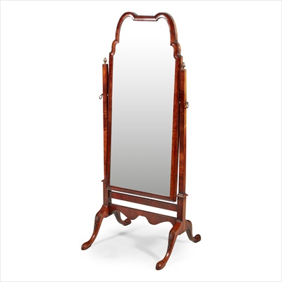 Lot 37-QUEEN ANNE STYLE MAHOGANY CHEVAL MIRROR