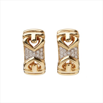 Lot 18-A pair of diamond set earrings