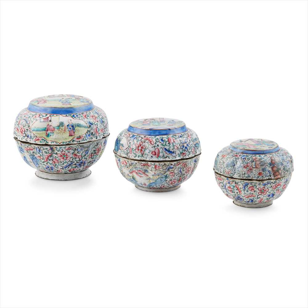 Lot 24-NEST OF THREE PAINTED ENAMEL BOXES