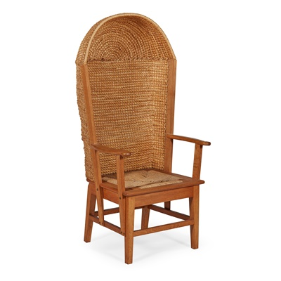 Lot 46-A WHITE OAK AND SEA GRASS HOODED ORKNEY CHAIR