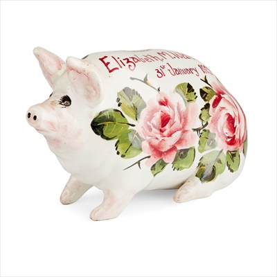 Lot 113 - A SMALL WEMYSS WARE MONEY BOX PIG