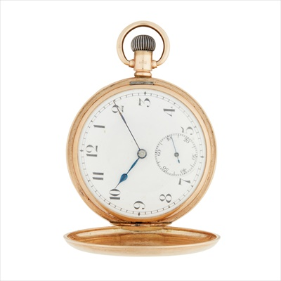 Lot 142 - A 9ct gold hunter cased pocket watch