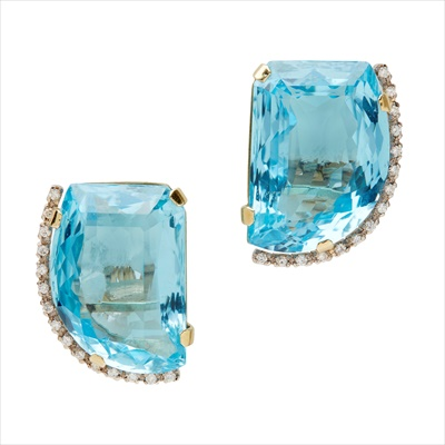 Lot 34 - A pair of blue topaz and diamond set earrings
