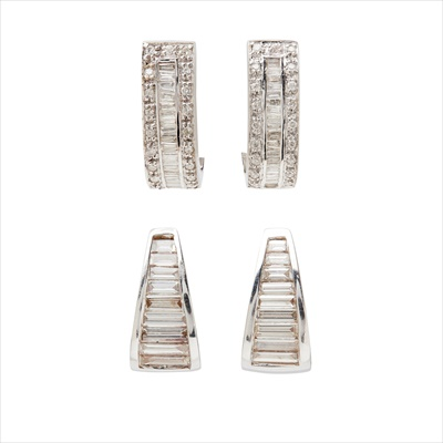 Lot 17-Two pairs of diamond set earrings