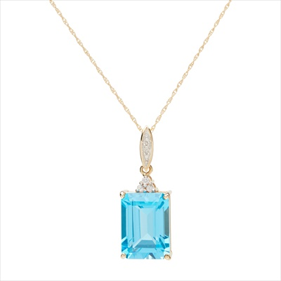 Lot 14-A 9ct gold topaz and diamond set pendant