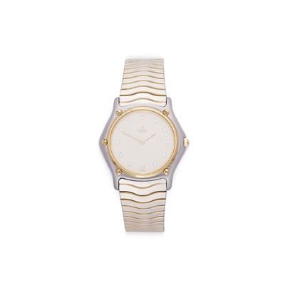Lot 44-A lady's stainless-steel and gilt wristwatch, by Ebel