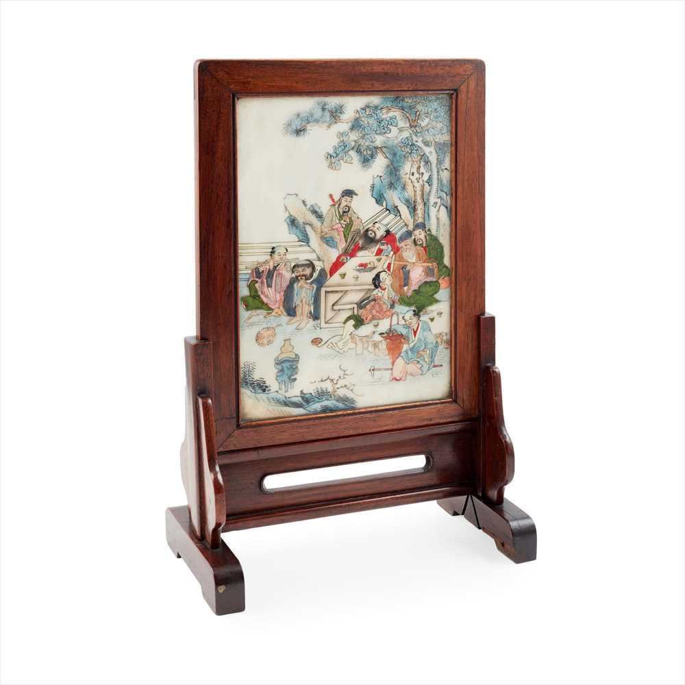 Lot 4 - PAIR OF PAINTED MARBLE TABLE SCREENS