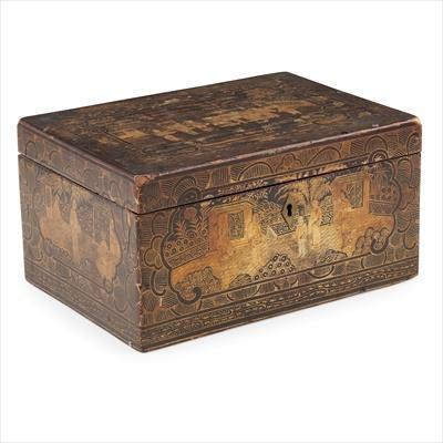 Lot 1-GILT-DECORATED BLACK LACQUER BOX