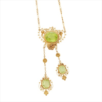Lot 1-An early 20th century peridot set necklace