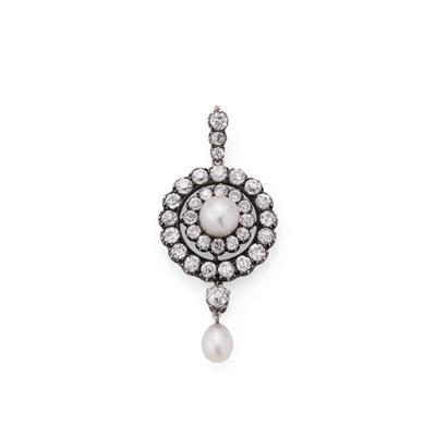 Lot 125 - A late 19th century natural pearl and diamond pendant, circa 1890
