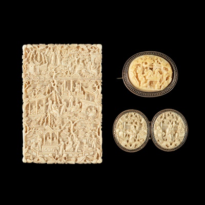 Lot 26-CANTON CARVED IVORY CARD CASE