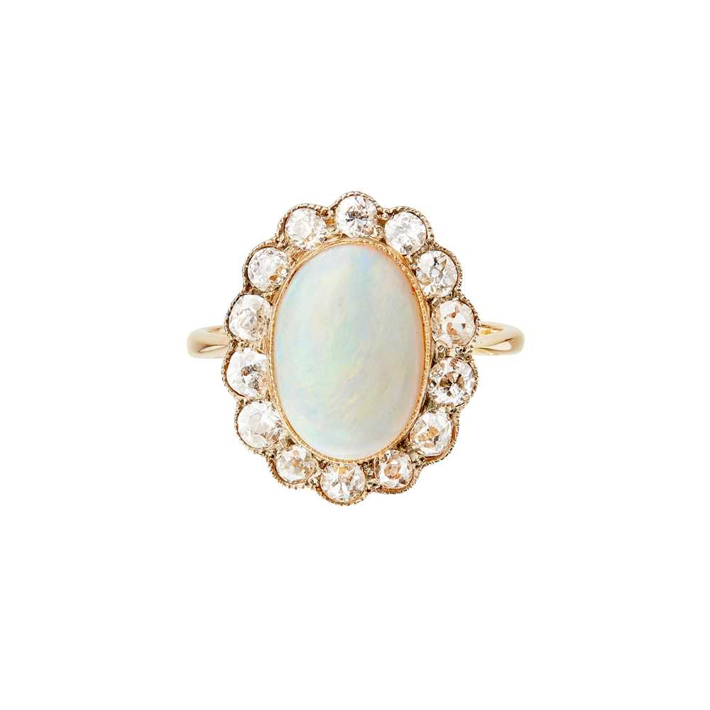 Lot 68 - An opal and diamond set cluster ring
