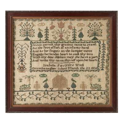 Lot 14 - A NEEDLEWORK SAMPLER