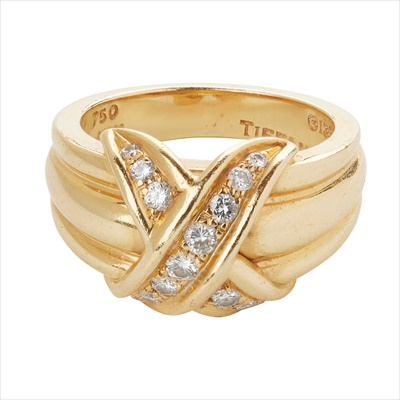 Lot 24-An 18ct gold diamond set 'X' ring, Tiffany & Co