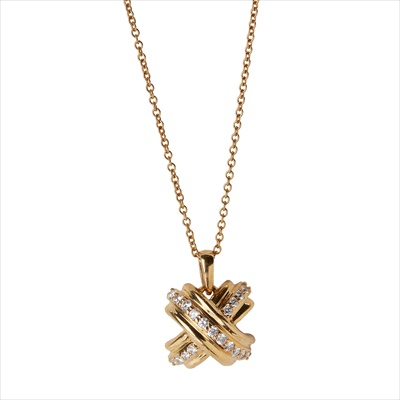 Lot 23-A diamond set 'X' pendant, Tiffany & Co