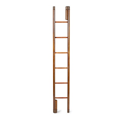 Lot 74 - LEATHER AND MAHOGANY FOLDING LIBRARY LADDER