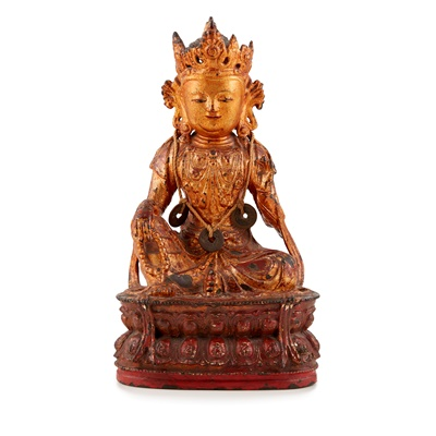 Lot 41-LACQUERED GILT BRONZE FIGURE OF GUANYIN