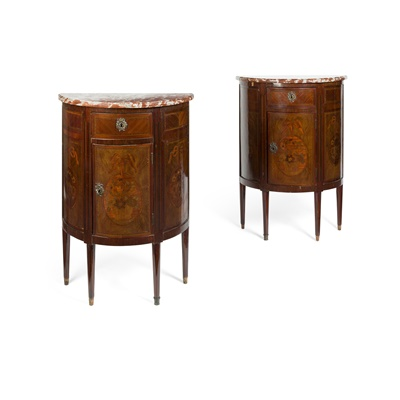 Lot 450 - PAIR OF ITALIAN KINGWOOD AND MARQUETRY DEMI-LUNE CABINETS