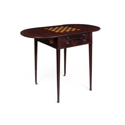 Lot 498 - LATE GEORGE III MAHOGANY AND BEECH GAMES TABLE