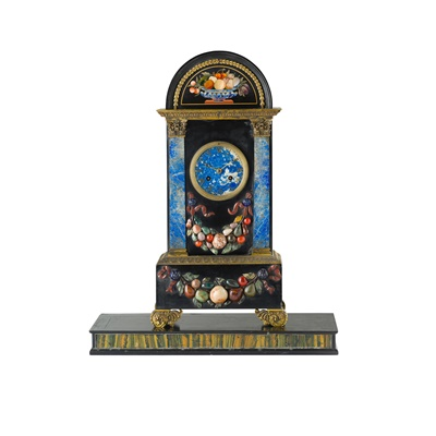 Lot 445 - FRENCH FLORENTINE MARBLE AND PIETRA DURA MANTEL CLOCK, BY HUNZIKER, PARIS