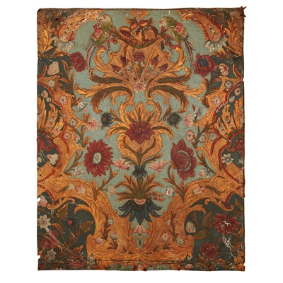 Lot 421 - COLLECTION OF CONTINENTAL EMBOSSED AND PAINTED LEATHER WALL PANELS