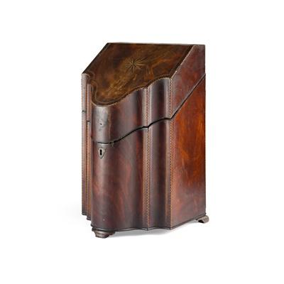 Lot 487 - GEORGE III MAHOGANY KNIFE BOX