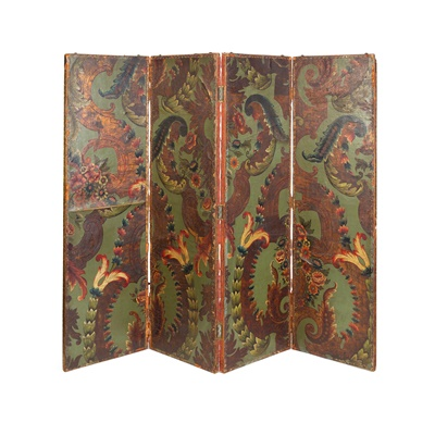 Lot 451 - CONTINENTAL EMBOSSED AND PAINTED LEATHER FOUR-FOLD SCREEN