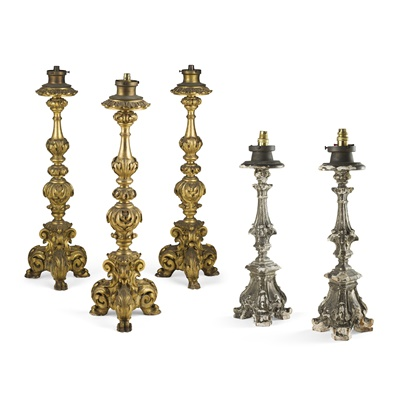 Lot 444 - GROUP OF FIVE CONTINENTAL PRICKET STICK LAMPS