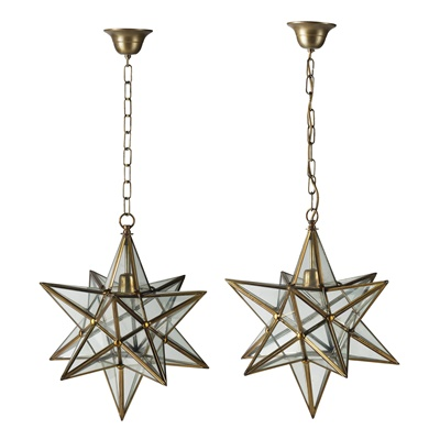 Lot 519 - PAIR OF STAR-SHAPED GLASS AND BRASS HANGING LIGHTS