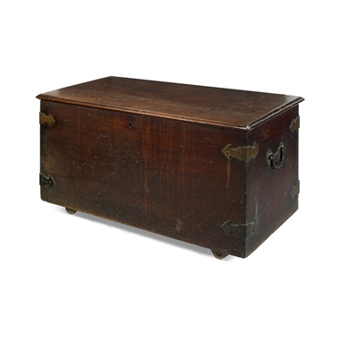 Lot 470 - GEORGE III MAHOGANY AND BRASS BOUND CHEST