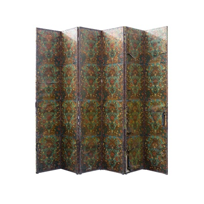 Lot 422 - CONTINENTAL EMBOSSED AND POLYCHROMED LEATHER SIX-FOLD SCREEN