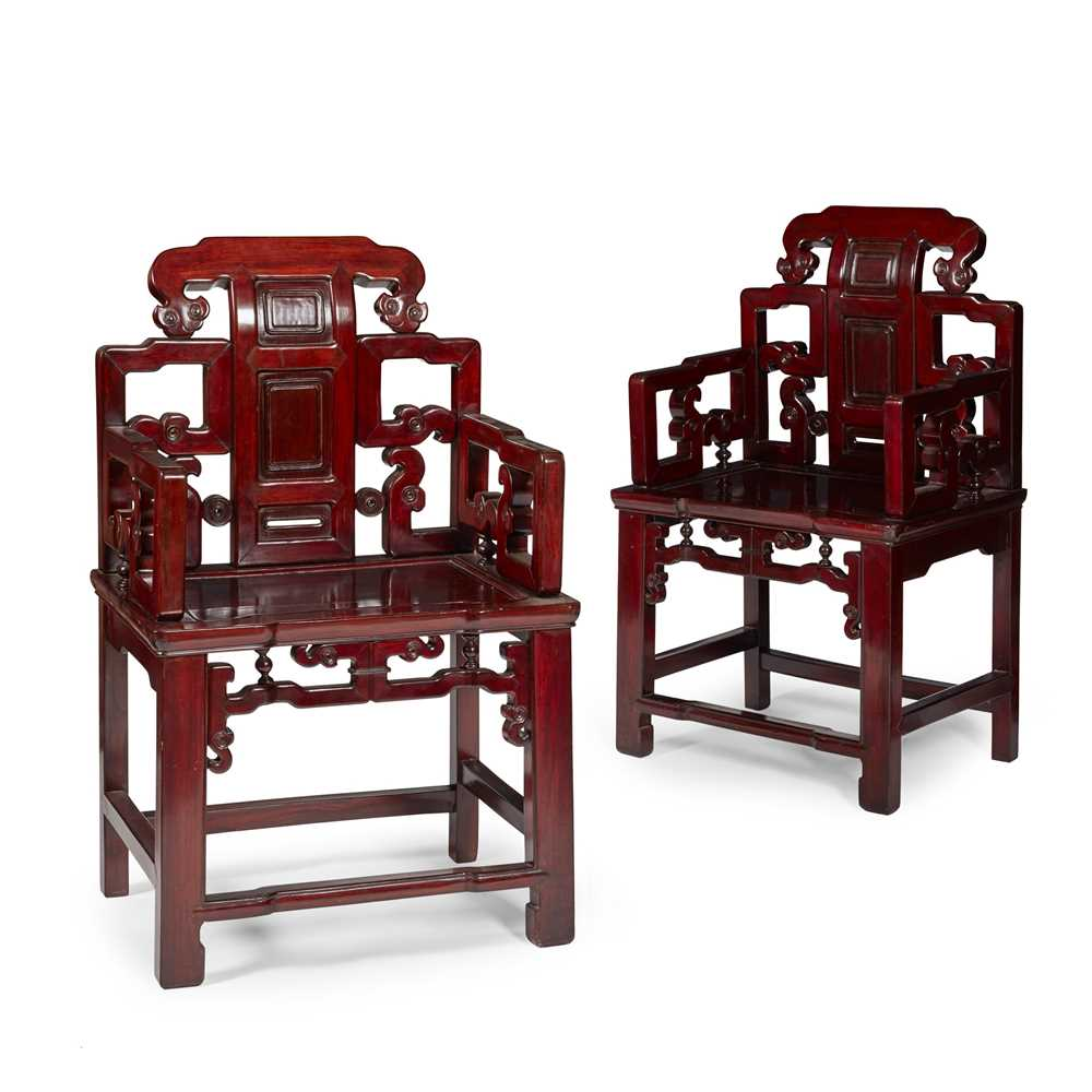 Lot 3-PAIR OF CHINESE HONGMU CHAIRS
