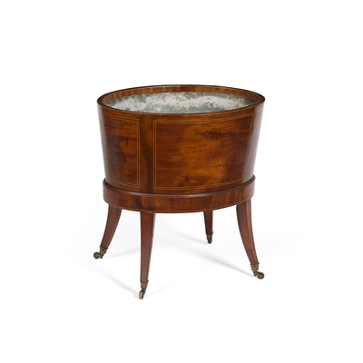 Lot 474 - GEORGE III MAHOGANY AND ROSEWOOD CROSSBANDED WINE COOLER
