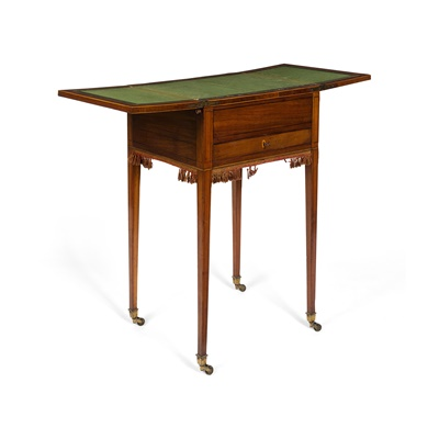 Lot 473 - LATE GEORGE III INLAID MAHOGANY WRITING TABLE