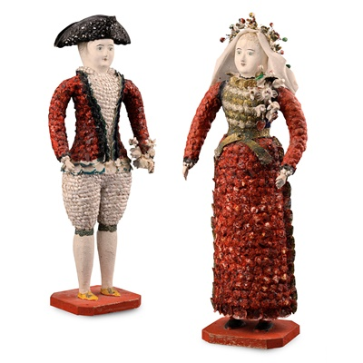 Lot 515 - RARE PAIR OF FRENCH CARTON MOULE 'SEASIDE' DOLLS
