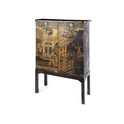 Lot 466 - CHINESE LACQUER CABINET-ON-STAND