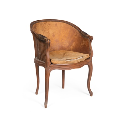 Lot 449 - LOUIS XV BEECH, CANE AND LEATHER BERGÉRE