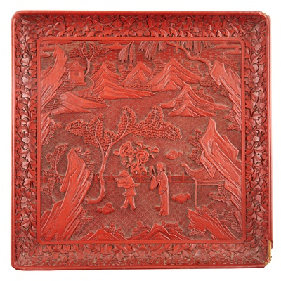 Lot 23-LARGE LACQUER SQUARE TRAY