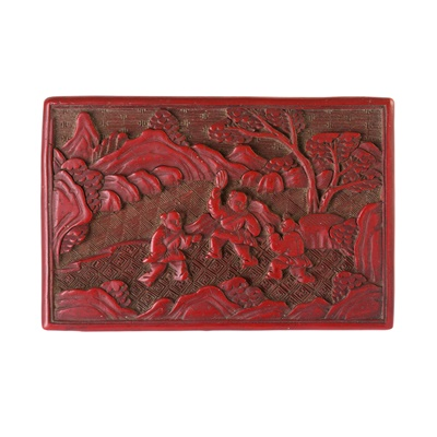 Lot 1-TWO CINNABAR LACQUER BOXES